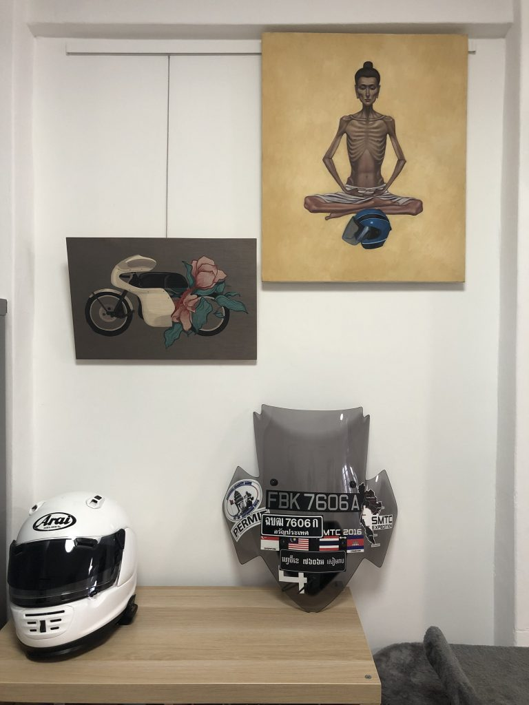 Moto-inspired home decor: artworks (left to right) by Anyhowlyyy and Chov Theanly