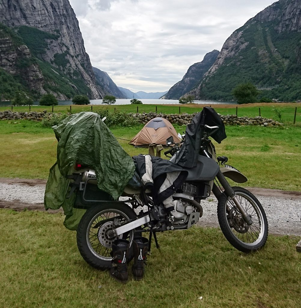 Motorcycle camping norway DR650