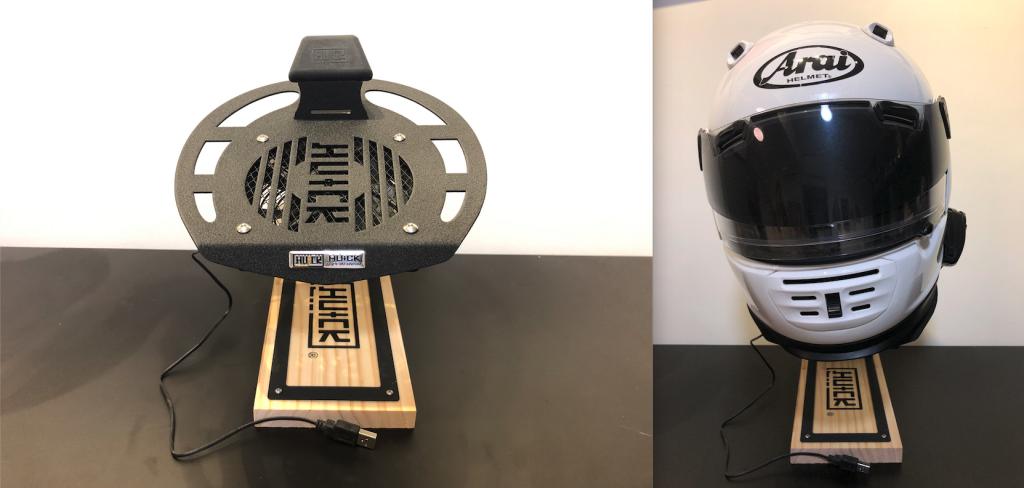 Helmet Rack with USB Fan + Desktop Stand set up