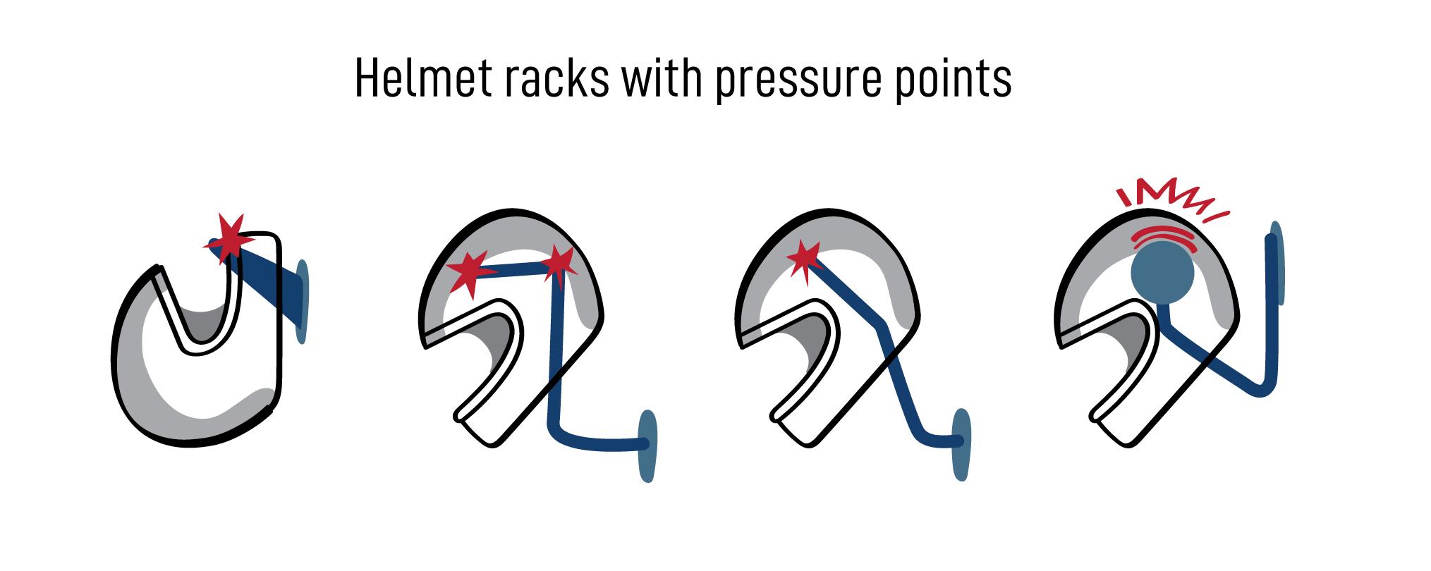 helmet racks with pressure points