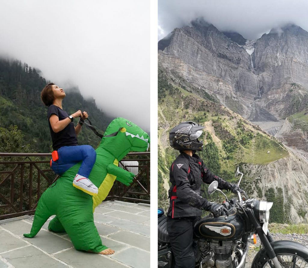 dinosaur suit and himalayas